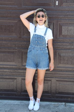 white thrifted vintage shirt - blue thrifted vintage romper