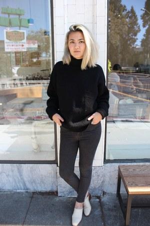 black chunky Gap sweater - charcoal gray Cheap Monday jeans