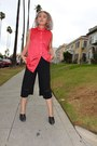 Black-thrifted-vintage-shoes-salmon-american-apparel-shirt-black-zara-pants