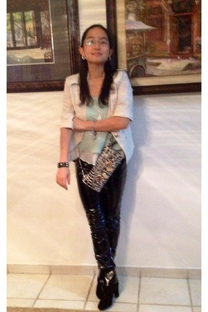 beige Qoo10 blazer - aquamarine chiffon tank blush top - black pvc tripp pants