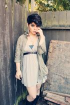 green Love 21 jacket - black thrifted boots - gray Forever 21 dress