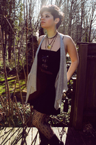 black Urban Outfitters dress - silver Old Navy vest - black Forever 21 stockings