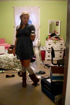 heather gray heart delias socks - brown Steve Madden boots - blue Bongo dress