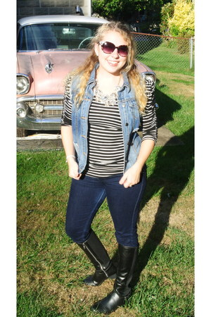 black Target boots - blue Levis jeans - gold JCrew necklace