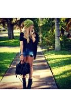Urban Outfitters hat - sam edelman boots - Alexander Wang bag - Zara shorts