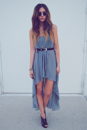 black cut out lace-up YSL wedges - heather gray maxi dress maxi Love dress