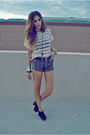 Beige-thrift-store-accessories-purple-striped-forever21-shorts