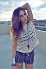 Purple-striped-forever21-shorts-black-leather-vintage-belt