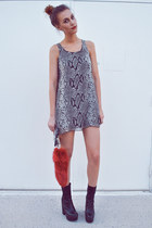 gray Love dress - black Jeffrey Campbell boots - ruby red Dolls Kill accessories