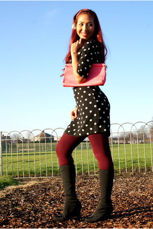 polka dots Primark dress - Marks and Spencer boots - Topshop tights - bank purse
