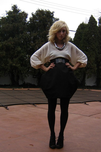white Uniqlo sweater - black my own design skirt - black urbanoutfitters shoes -