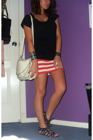 black bonds shirt - red cotton on skirt - black Ruby shoes - white Sportsgirl pu