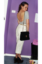 gray American Apparel top - white vintage pants - black purse - black Siren shoe