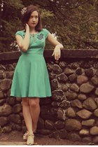 teal eShakti dress - nude Urban Outfitters heels