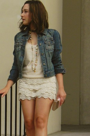 jean An Taylor jacket - lace OASAP shorts - Forever 21 blouse - Target necklace