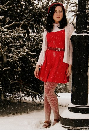red Urban Outfitters dress - beige f21 tights - red f21 tights - red Target belt