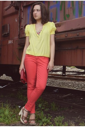 yellow Forever 21 blouse - carrot orange JC Penny jeans - ruby red Target bag