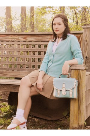 light blue OASAP purse - pink vintage shoes - tan Forever 21 skirt