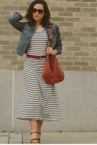 white OASAP dress - gray Ann Taylor Loft jacket - brick red lucky bag