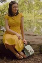gold modcloth dress - light blue OASAP purse - tan thrifted wedges