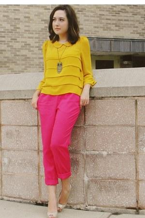mustard Forever 21 blouse - nude Macys heels - hot pink H&M pants