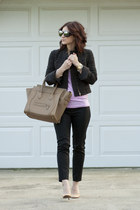 plaid Burberry blazer - camel Celine purse - black Dsquared2 pants