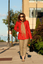 red narciso rodriguez coat - bronze brian atwood shoes - black kate spade purse