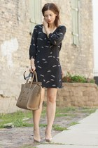 black Tibi dress - camel Christian Louboutin shoes - camel Celine purse