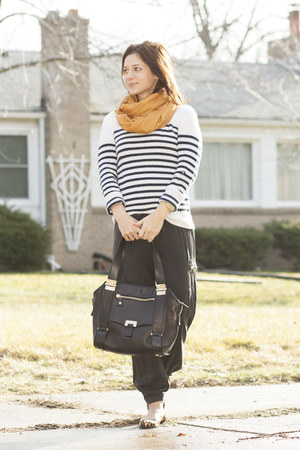 ivory stripe J Crew sweater - mustard Loro Piana scarf - black Jimmy Choo purse