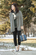 gray Marni cardigan - black kate spade shoes - off white dvf coat