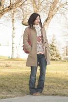 pink Mulberry purse - camel Frye shoes - tawny J Crew coat