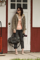 Jcrew top - go silk jacket - balenciaga purse - Jcrew pants