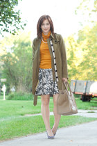 brown kate spade shoes - army green Burberry coat - mustard unknown sweater