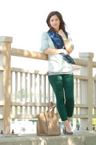navy Blue scarf - brown kate spade shoes - light blue J Crew shirt
