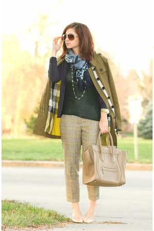 olive green Burberry jacket - forest green Inhabit shirt - navy Valentino scarf
