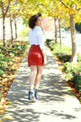Brick-red-leather-vintage-skirt-heather-gray-alexander-wang-boots