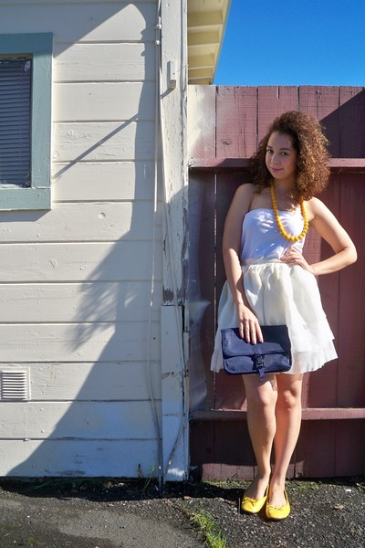 white DIY dress - white DIY skirt - gold necklace - gold shoes - blue yves st la