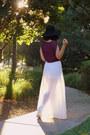 Off-white-lush-skirt-black-vintage-hat-maroon-lush-top