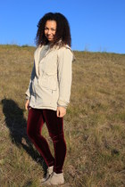 crimson velvet American Apparel leggings - beige liz c jacket