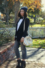 Charcoal-gray-alexander-wang-boots-navy-forever-21-blazer