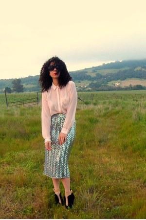 peach wedges Zara shoes - sheer H&M shirt