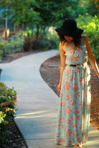 black wool vintage hat - open back maxi Lush dress