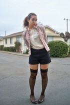 pink no name jacket - black Victorias Secret tights - black Anne Klein shoes