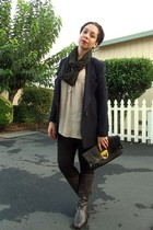 blue Forever 21 blazer - beige Forever 21 blouse - black H&M leggings