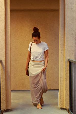 cream Lush skirt - tawny coach bag - white Dolce Vita sandals