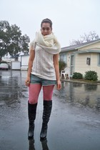 white scarf - white sweater - pink tights - black Jessica Simpson boots