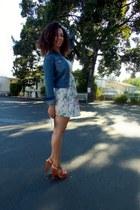 cream Audrey 31 dress - blue Ralph Lauren jacket - burnt orange INC heels