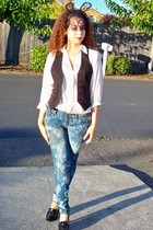 white unknown top - black H&M vest - blue DIY jeans - black unknown shoes - blac