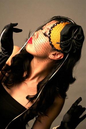 gold chiffon Amber Arden hat - accessories - ribbon accessories - black satin ac