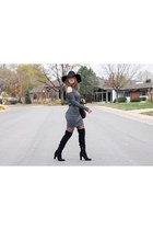 black suede Macys boots - charcoal gray cotton Nordstrom dress